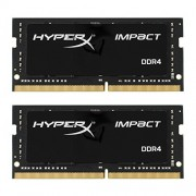 Kingston HX424S14IBK2/16 16Gb Kit 2X8Gb DDR 4 Pc 2400 Hyperx Impact Scheda di Memoria, Nero