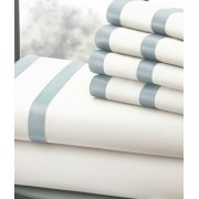 1000 Thread Count Egyptian Cotton Sheet Set 6pc (White/Celestial Blue) California King