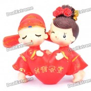 Cute Resin Bride and Bridegroom Toy Doll