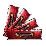 Memorie G.Skill Ripjaws 4 Red 16GB (4x4GB) DDR4, 2666MHz, PC4-21300, CL15, Quad Channel Kit, F4-2666C15Q-16GRR