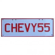 """""""Novelty Number Plate - Chevy55 Red On White"""""""