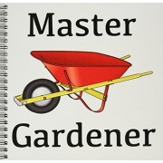 3dRose db_123089_1 Master Gardener Gardening Wheelbarrow Drawing Book, 8 by 8-Inch
