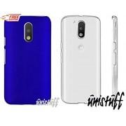 For Motorola Moto G 4th Gen Plus [COMBO OFFER]: Unistuff™ Matte Finish Hard Shell Ultra Thin Bumper Back Case Cover for Motorola Moto G 4th Gen / Moto G4 / Moto G Plus, 4th Gen / Moto G4 Plus (Royal Blue, Transparent)