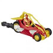 Marvel - Ultimate Spiderman Web Warriors, Figurina di Iron Spider con veicolo