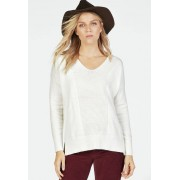 JustFab Cozy V-Neck Pullover Femme Couleur Blanc Taille L JustFab