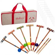 Budweiser 24 piece 6 Player Croquet Set - Complete Game with Carrying Case