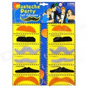 Stylish Costume Artificial Mustaches Set - Black + Coffee + Grey (2 x 6 PCS)