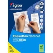 Agipa Etiquettes Coins Droits - Étiquettes Adhésives Permanentes - Blanc - 42.4 X 105 Mm 1400 Étiquette(S) ( 100 Feuille(S) X 14 )