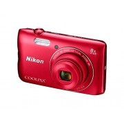 Nikon Coolpix A300 20.1MP Point and Shoot Camera with 4x Optical Zoom (Red) with card + camara case