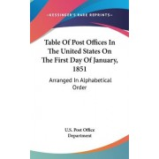 Table of Post Offices in the United States on the First Day of January, 1851 by U S Postal Service