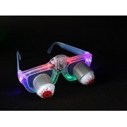 Da Xin Light Up Pop Out Eyes Glasses Droopy Eyes Glasses Goofy Slinky Pop Out Eye Gag Halloween Costume Party Joke Transparent Multicolor