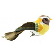 Touch of Nature Natural Feather Bird, 4-Inch, Gold/Olive