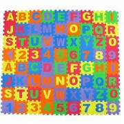 Alphabet Letters and Numbers Foam Puzzle Square Floor Mat 6x6-Inches 72-Pieces
