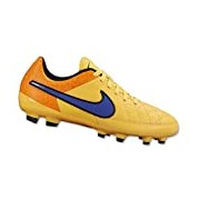 Nike Men's Tiempo Genio Leather AG R Boots - Orange/Blue/Black, Size 7