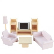Once Upon A Treehouse Handmade Wooden Six Piece Miniature Dollhouse Living Room Set
