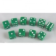 8mm Opaque Green with White Pips 10 Set by Koplow Games