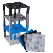 """Strictly Briks Premium Space Themed Blue, Gray, Black, Light Gray Stackable Base Plates - 4 Pack 6"""" x 6"""" Baseplate Bundle with 40 New and Improved 2x2 Stackers - Tower Construction - Compatible with All Major Brands"""