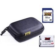 Set SDHC de CrazyCase avec étui à coque rigide métallisé de couleur NOIR + carte mémoire SDHC 32 GB et batterie de rechange EN-EL19 de haute performance compatible avec Nikon Coolpix S2600 / S2700 / S3300 / S3500 / S4150 / S4300 / S5200 / S6400 / S6500 /