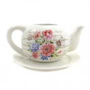Suport ghiveci flori ceramica ceainic alb cu flori colorate