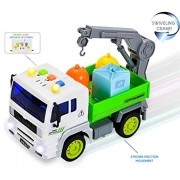 FUNERICA Garbage Truck Toy with Sound Effects Working Lights Swivel Crane for Loading and Unloading 3 Colored Sanitation Garbage Cans - Super-Strong Friction Rolling Action - Pick Up Truck Style