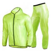 NUCKILY MJ001 / MP001 Cycling Hooded Rain Coat + Pants Windbreaker Suit - Fluorescent Green (XXL)