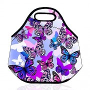 Bonamana Insulated Lunch Bag Tote Bag Picnic Bag Cooler Box Neoprene Lunch Box Container Case for School Travel Outdoor (Butterfly)