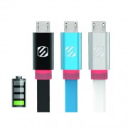 Cablu micro USB de date si incarcare flatOUT LED (Alb, 1m)