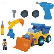 WolVol 3-in-1 Construction Bulldozer Dump Excavator Take-A-Part Truck Toy with Drill and Tools Lights and Music Bump and Go Action