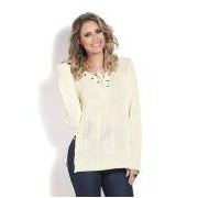 Blusa de Trico Off White com Amarracao no Decote