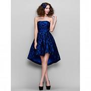 ts couture prom / empresa partido do vestido - 1950 Plus Size / pequeno de uma linha strapless do laço assimétrico com rendas