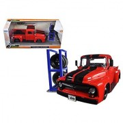 1956 Ford F-100 Red Pickup Truck Just Trucks with Extra Wheels 1/24 by Jada 97684