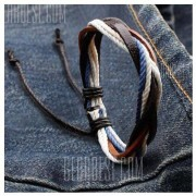 GearBest Retro Faux Leather Rope Twisted Bracelet For Men