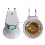 E27 LED Light Male Socket to EU Type Plug Adapter Converter for Bulb Lamp Holder With ON/OFF Button