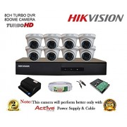 Hikvision DS-7208HGHI-F1 720P (1MP) 8CH Turbo HD DVR 1Pcs + Hikvision DS-2CE56COT-IR Dome Camera 8Pcs + 1TB HDD + Active Copper Cable + Active Power Supply Full Combo Kit.