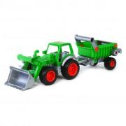 Polesie Traktor med frontlastare och släp 58x16x17 cm grön 1450657