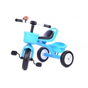 Planet of Toys Metal Frame Tricycle with Front and Back Basket (Blue)