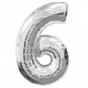 Balon folie cifra 6 argintiu