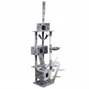 Cat Tree Cat Scratching Post 220 - 240 cm 3 Condos Grey with Pawprints