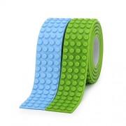 SuSenGo 4 Stud Wide Brick 2 Rolls Blue Green 6.5feet/2meter Building Block Tape Roll Self-Adhesive.