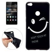 Huawei P8 Lite (2017) Dont Touch My Phone Smiling Face Pattern Soft TPU Protective Case