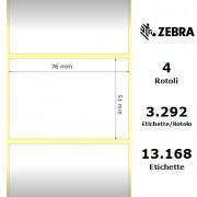 Zebra Z-Select 2000T - Etichette in carta patinata di colore bianco, formato 76 x 51 mm.