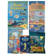 Ocean Creatures 3-D Puzzle with 3-D Glasses; Sticker Activity Book; Origami Sea Animals with YouTube instructions; Grow Color Changerz Seahorse; Create-a-Town Ocean Sticker Scene-Fun Value Bundle Pak!