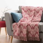Maisons du monde Coperta in cotone rossa con motivi bianchi 160x210