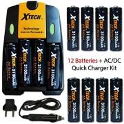 12 AA NiMH Rechargeable Batteries 3100mAh + AC/DC Quick Charger Kit for Nikon Coolpix L840 L830 L820 L810 L620 L610 L330 L320 L310 L32 L31 L30 L28 L26 Digital Cameras.