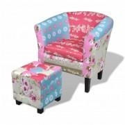 Lappendeken fauteuil met gestoffeerde armleuningen met voetenbankje