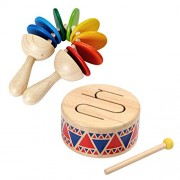 Plan Toy Music Bundle Including Solid Wood Drum And Preschool Clatter Music