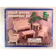 Doll House Furniture Kit - Wooden - Living Room Set (5 Pcs)