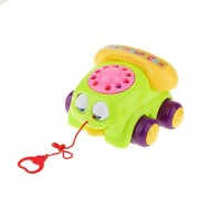 Imported Red Pull Along Chatter Telephone Car Phone Rotary Dial Classic Pull Toys New