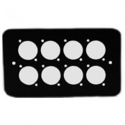 Double Gang Plate Black Punched for 8 x XLR Rounded Corners 84511-8RC