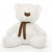 White 5 Feet Big Teddy Bear with Muffler